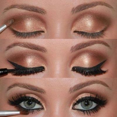 maquillaje dorado ojos verdes